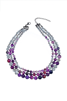 Women Fashion Stone Beads Short Necklaces N3033 -Amethyst