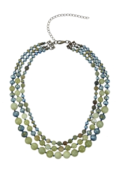 Women Fashion Stone Beads Short Necklaces N3033 - Green Onyx