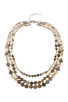 Women Fashion Stone Beads Short Necklaces N3033 - Picture Jasper