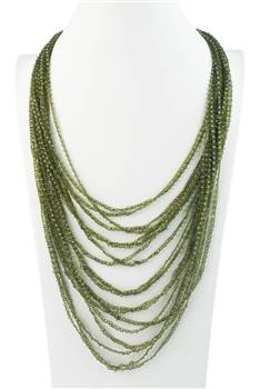 Multpile Layer Long Crystal Beads Necklaces N3052 - Green