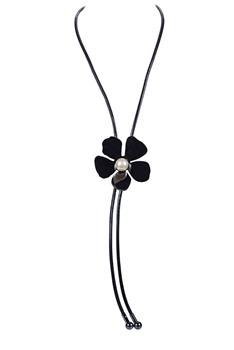 Fashion Black Flower Bangle Long Necklace N3075