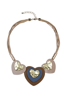 Fashion Women Brown Heart Shaped Collar Necklace N3091