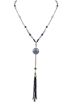 Natural Stone Crystal Long Tassel Necklace N3125