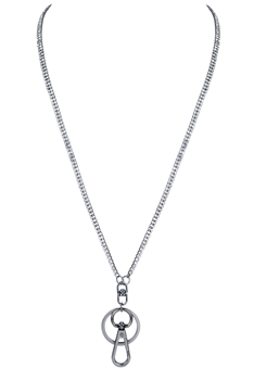Fashion Crystal Metal Chain Key Chain Necklace N3136 - Gun Metal