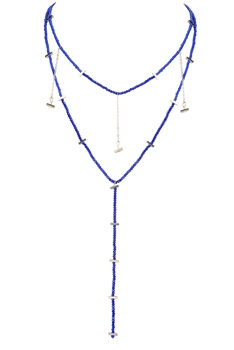 Fashion Strand Tiny Crystal Pendant Necklace N3145 - Blue