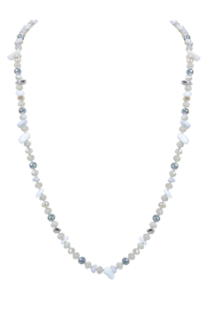 Fashion Women Crystal Necklace N3147 - Grey