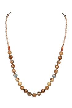 Round Stone Beads Statement Leather Necklace N3149 - Picture Jasper