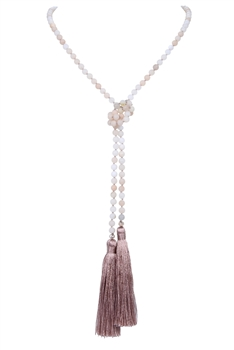 Crystal Beads Silk Tassels Long Pendant Necklace N3150 - Pink Aventurine
