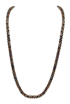 Strand Crystal Long Necklace N3163 - Brown