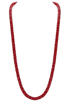 Strand Crystal Long Necklace N3163 - Red