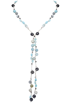Fashion Stone Crystal Pendant Long Necklace N3172 - Amazonite