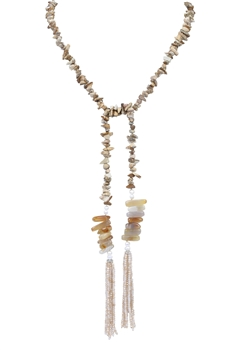 Gravel Natural Stone Tassel Necklace N3173 - Picture Jasper