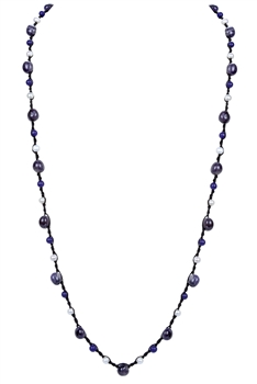 Trendy Amethyst Stone Pearl Bead Knotted Necklace N3174