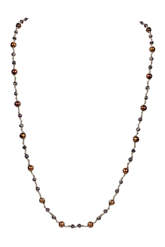 Elegant Women Pearls Knotted Long Necklace N3177 - Brown