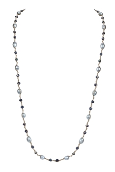 Elegant Women Pearls Knotted Long Necklace N3177 - Grey