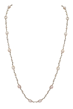 Elegant Women Pearls Knotted Long Necklace N3177 - Pink