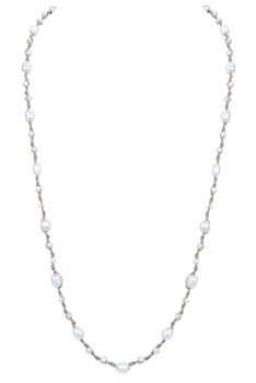 Elegant Women Pearls Knotted Long Necklace N3177 - White