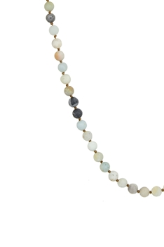 Round Stone Beads Statement Necklace N3180 - Amazonite matt(6MM)