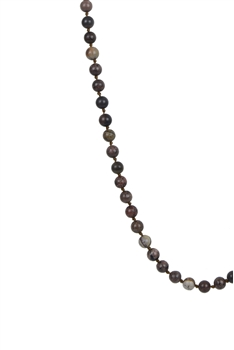 Round Stone Beads Statement Necklace N3180 - Black Grassy Jasper