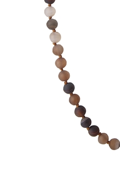 Round Stone Beaded Necklace N3180 - Bron Agate