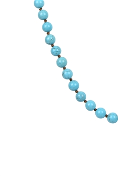 Round Stone Beaded Necklace N3180 - Crack Turquoise