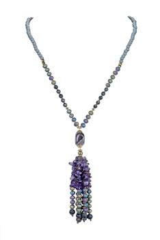 Natural Stone Beaded Tassel Necklace N3186 - Amethyst