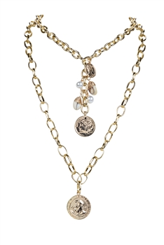 Gold Medal  Pendant Strand Metal Necklace N3193