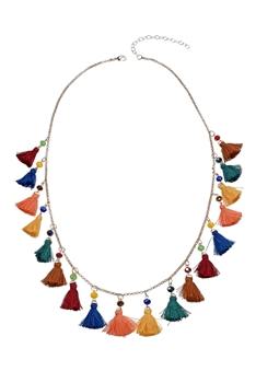 Bohemian Multi Color Tassels Necklace N3194