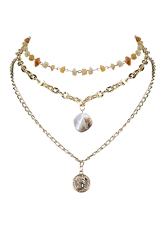 Gold Medal Pearl Beads Strand Metal Necklace N3196
