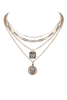 Gold Medal  Pendant Strand Necklace N3199