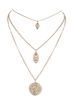 Gold Medal  Pendant Strand Metal Necklace N3203