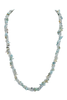 Stone Gravels Pearl Beads Necklace N3212 - Amazonite