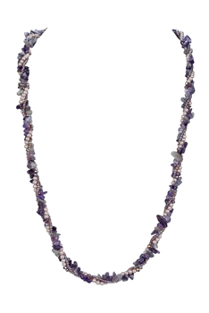 Stone Gravels Pearl Beads Necklace N3212 - Amethyst