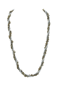 Black Labradorite Gravels Pearl Beads Necklace N3212