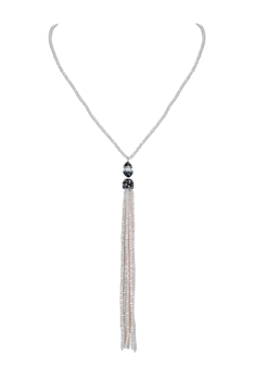 Long Tassel Beaded Crystal Necklaces N3217 - Beige