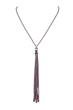 Long Tassel Beaded Crystal Necklaces N3217 - Purple