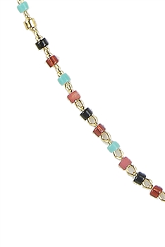 Seed Bead Metal Chain Necklace N3244-18 inches - Multi