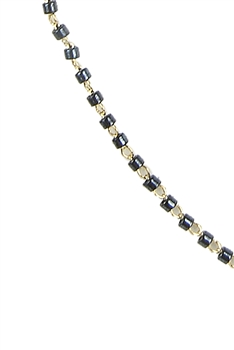 Seed Bead Metal Chain Necklace N3244-18 inches - Black