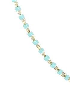 Seed Bead Metal Chain Necklace N3244-18 inches - Blue