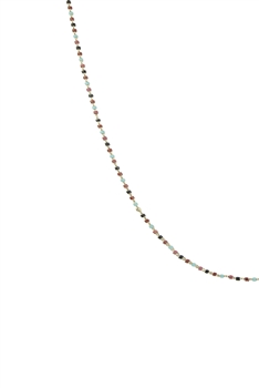 Seed Bead Metal Chain Necklace N3244-30inches - Multi
