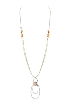 Leatherette Metal Geometric Stone Necklace N3248