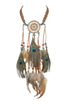 Feather Tassel Dream Catcher Necklaces N3251 - Champagne