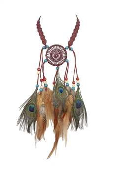 Feather Tassel Dream Catcher Necklaces N3251 - Red