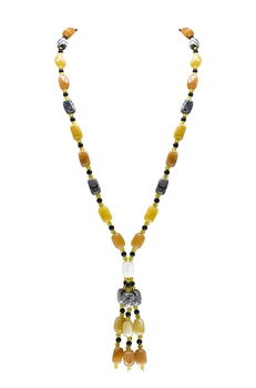 Multicolor Agate Tassel Necklaces N3257