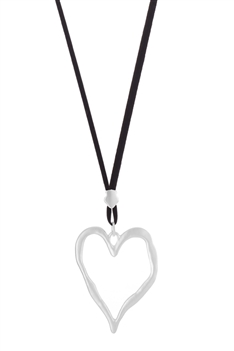 Hollow Heart Shaped Necklace  N3271 - Silver