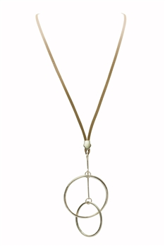 Double Circle Charm Pendant Brown Leatherette Necklaces N3279