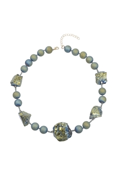Natural Stone Beads Irregular Necklace N3299 - Green Stone