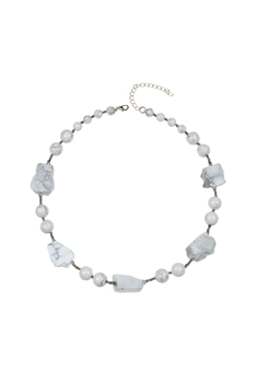 Natural Stone Beads Irregular Necklace N3299 - Howlite
