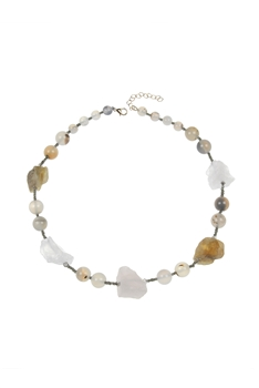 Natural Stone Beads Irregular Necklace N3299 - Mix Stone
