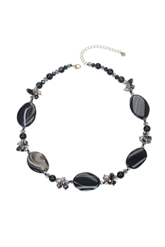 Fashion Natural Agate Necklace N3301 - Black